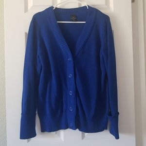 Faded Glory Blue Button Up Cardigan Sweater